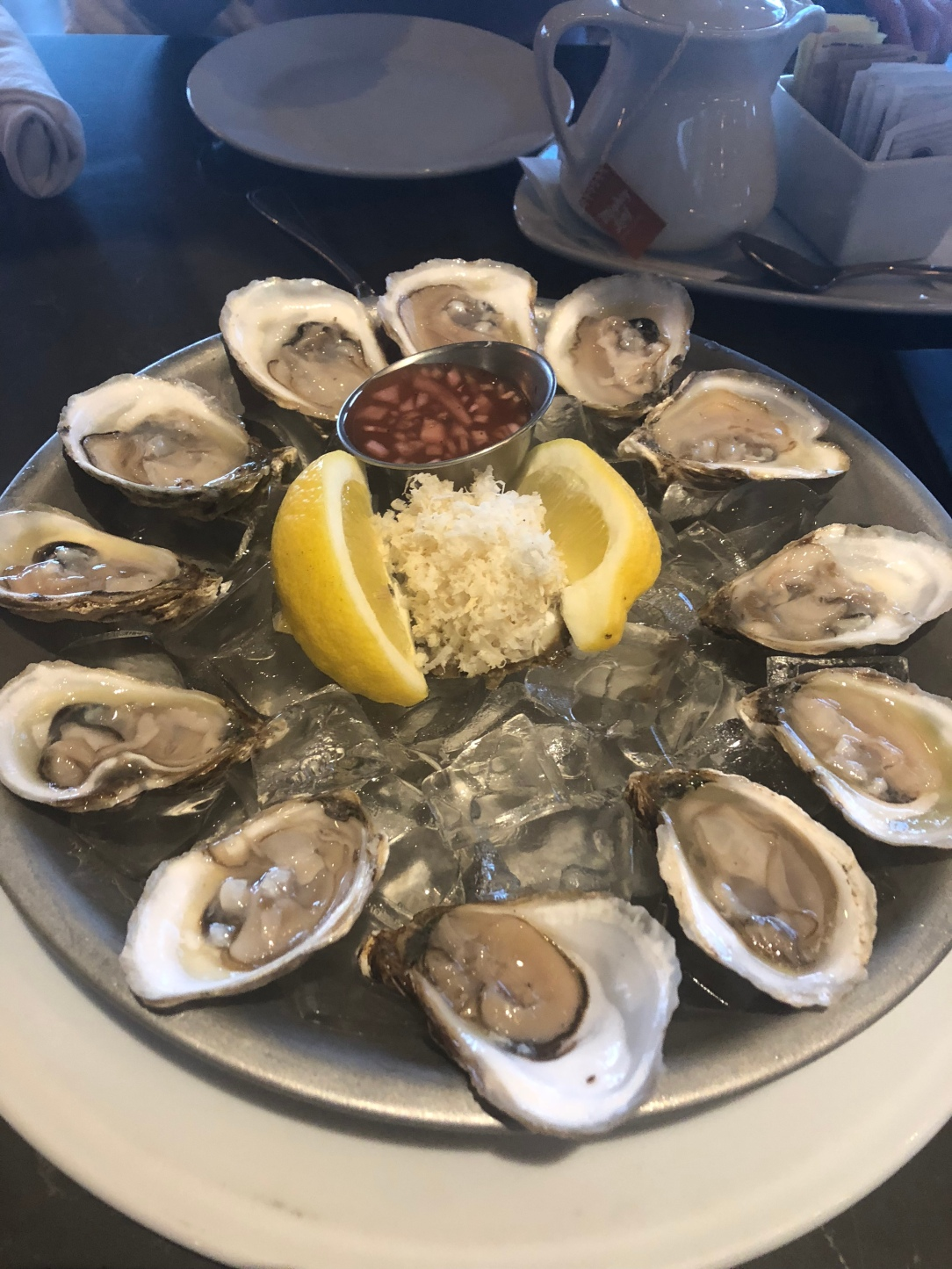 Tray of raw oysters over ice at Baxter's Landing in Oshawa